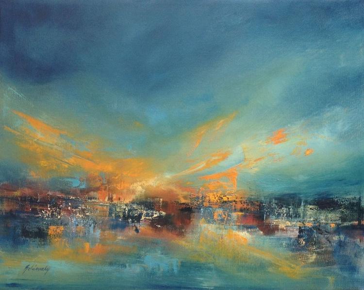 Phoenix - 40 x 50 cm, abstract landscape oil painting, blue, orange - Image 0