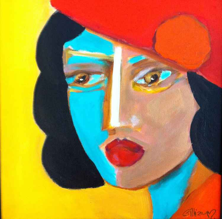 Woman with red hat -