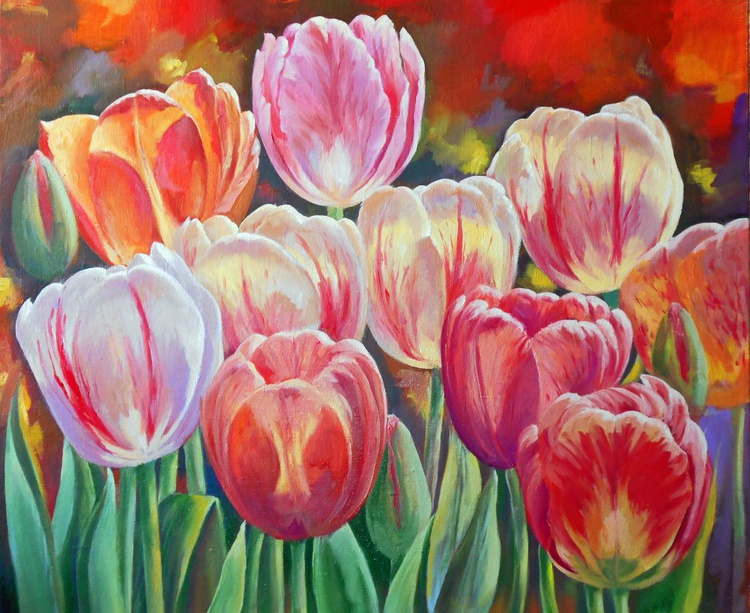 Tulips/Oil on Canvas/Free Shipping - Image 0