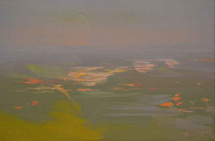 "Plein air landscape painting ""Dawn Above the City"""