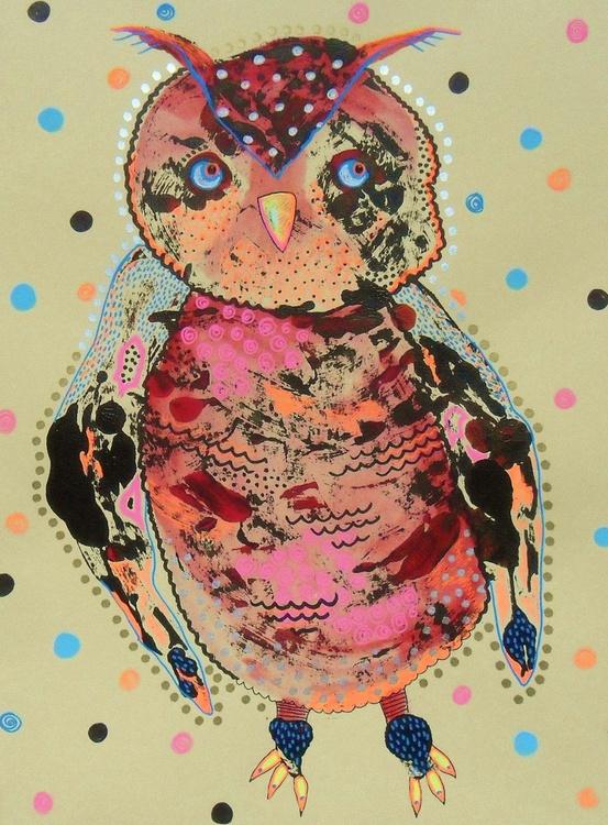 Pensive Baby Owl Pink Orange - Image 0