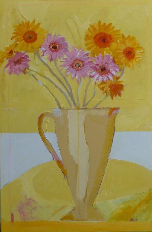Gerbera flowers in old stone jug - Image 0