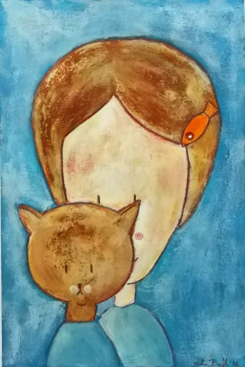 girl with  cat original painting - funny illustration - girl and pet portrait wall art - Image 0