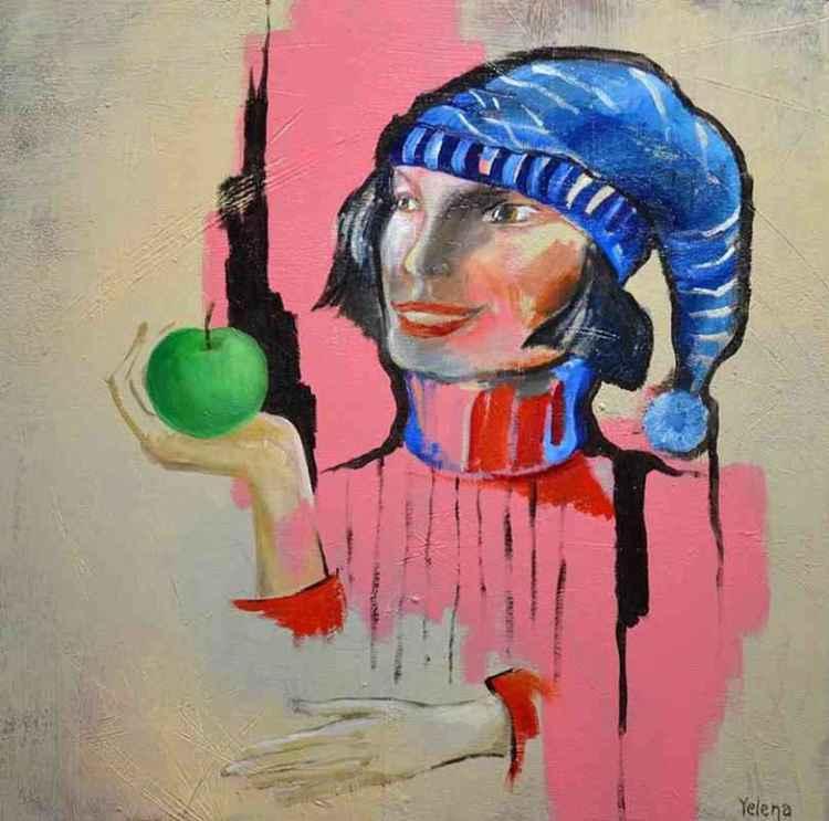 The Blue Hat - Original Painting Art Figure Modern Abstract Artwork -