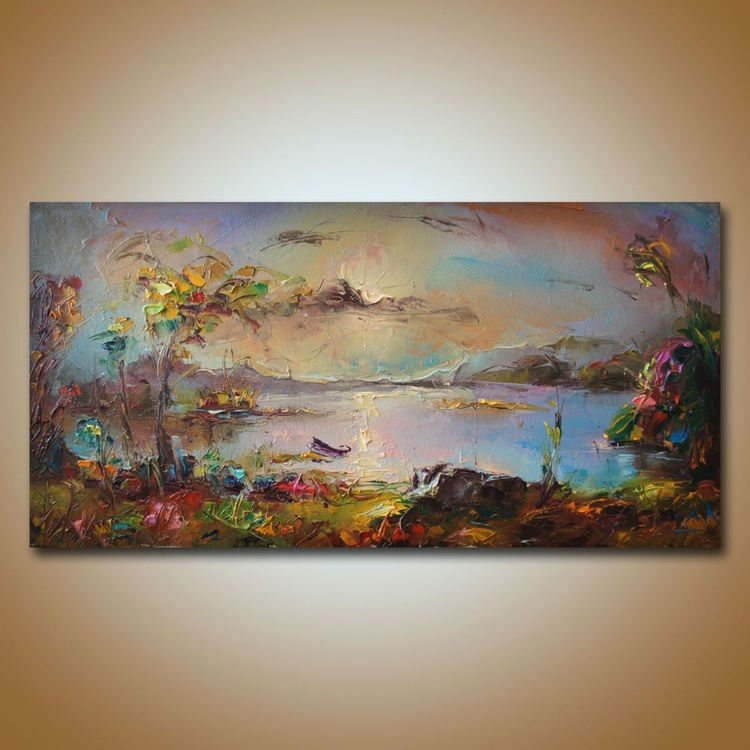 Along the river, oil painting on canvas, seascape paintings, free shipping, landscape - Image 0