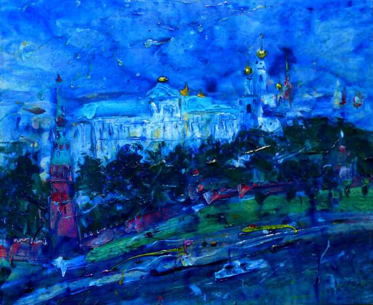 Night Moskow, large painting 110x90 cm -