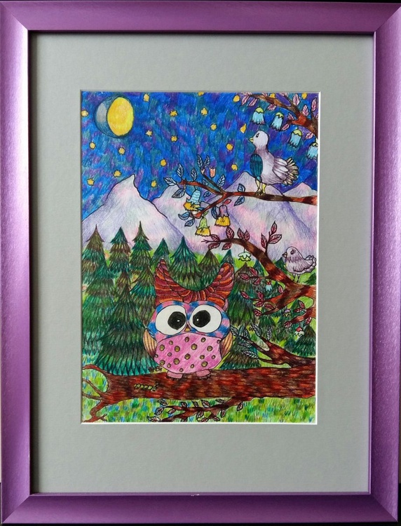Bewitched forest, original artwork, 34x44 cm, FREE SHIPPING - Image 0