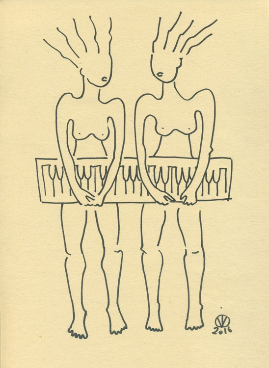 Piano Duet #3 (21x30 cm) abstract sketch original drawing two duet piano nude girls music - Image 0