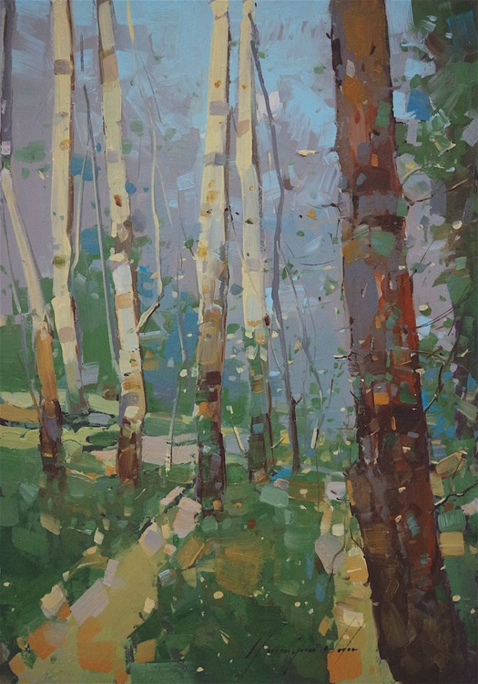 Cobalt Forest, Landscape oil painting, Birches Grove, One of a kind, Signed, Hand Painted - Image 0