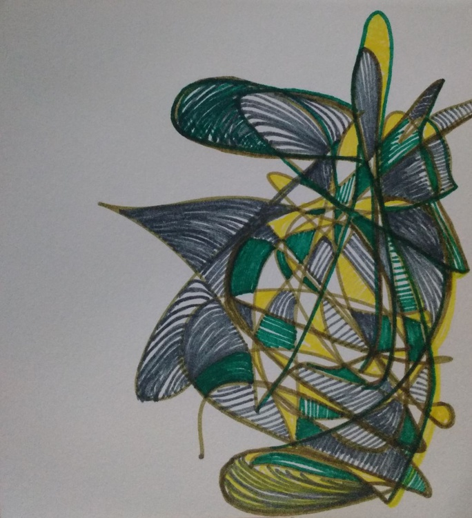 Green and Yellow G-Plan Drawing (13cm x 14cm) - Image 0