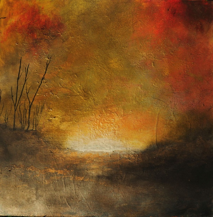 """Landscape """"Irresistible"""" earth tones atmospheric gold red - Image 0"""