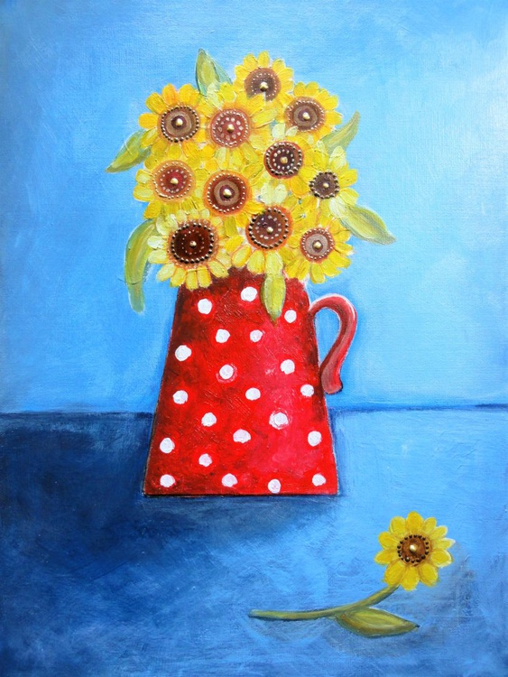 Sunflowers in a Spotty Red Jug - Image 0