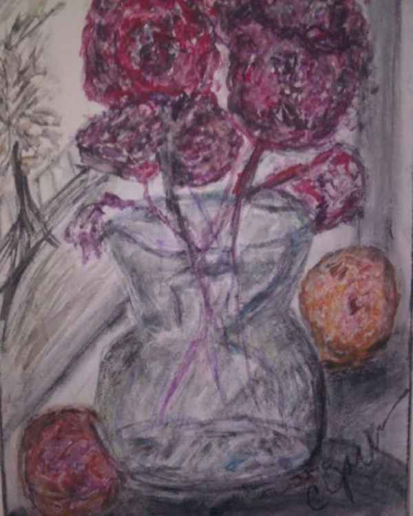 Red Flowers In Window By Cynthia Jackson -