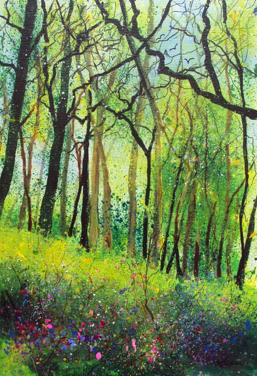 Bank of Trees with Wildflowers - Image 0