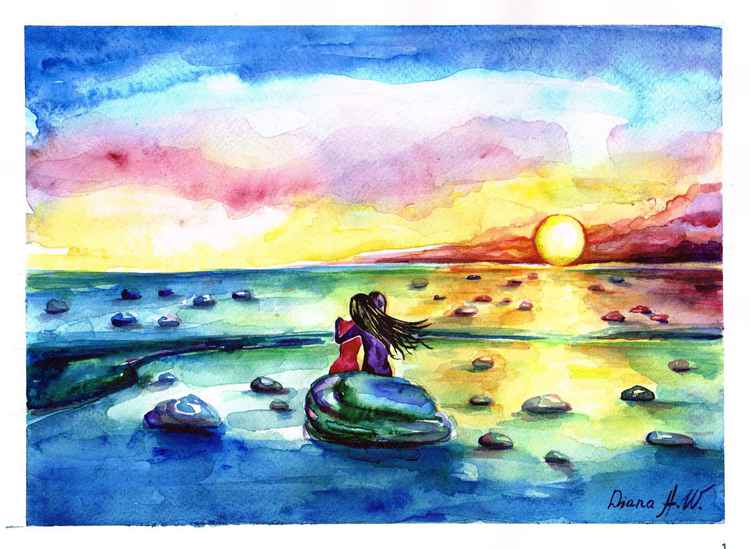 At the Sunrise with Beloved, Original Watercolour Painting, home interior, home decor, Gift Idea -