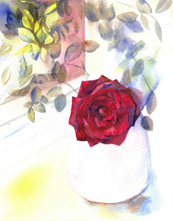 Red Rose - Rose painting, Rose watercolour, Rose wall art, Romantic flower painting -