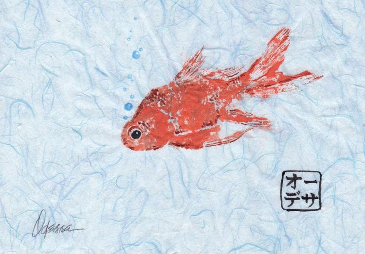 Orange Goldfish with Bubbles Gyotaku (Fish Rubbing) - Image 0