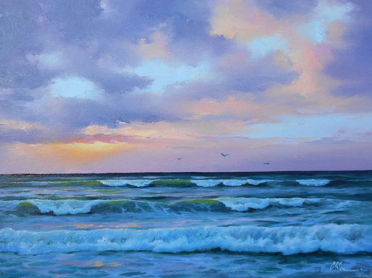 Sunset, Original oil on canvas, Free Shipping - Image 0