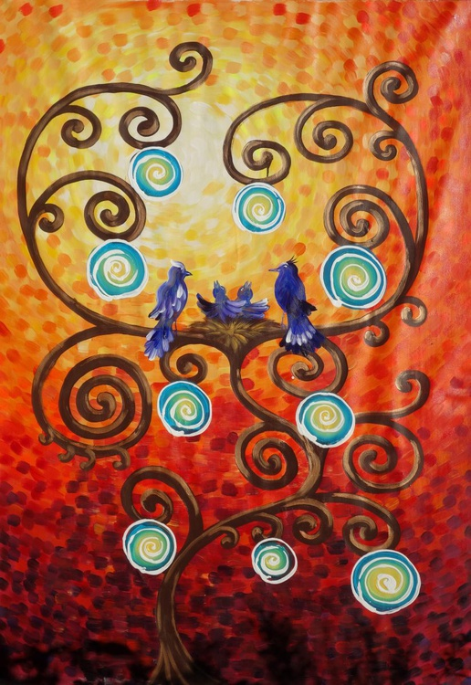 Tree of life family blue birds nest Large orange expressionist painting 110x160 cm unstretched canvas art by artist Ksavera - Image 0