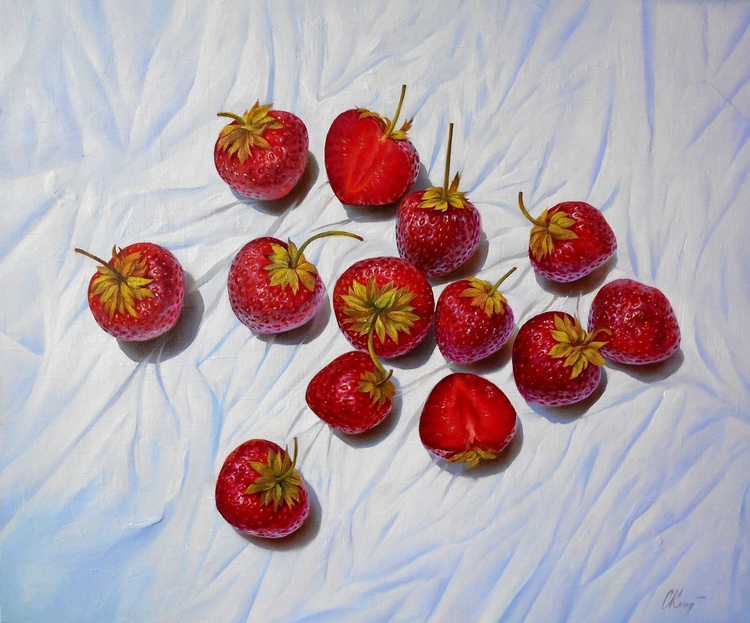 Strawberry/Still Life/Original oil on canvas/Free Shipping - Image 0