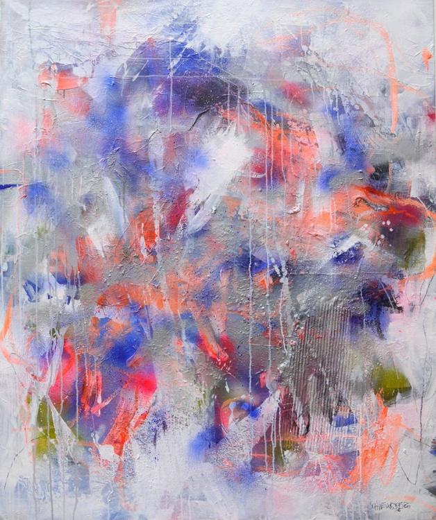 Interstellar Midnight (Manhattan Midnight)   large abstract painting   blue pink orange silver white - Image 0