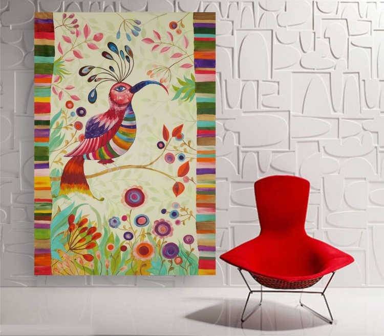Folk art BIRD Large painting 110x160 cm unstretched canvas folklore abstract naive art by artist Ksavera - Image 0