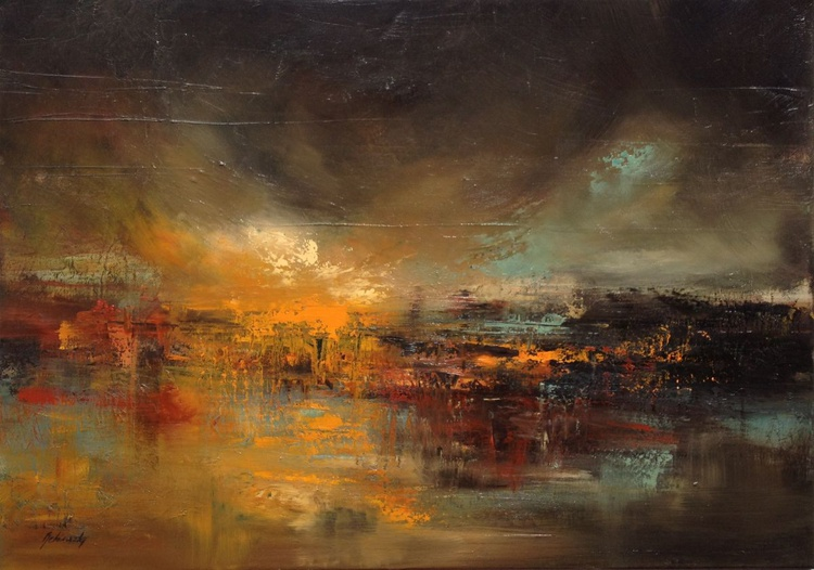 Outer World - 50 x 70 cm, abstract landscape oil painting, earth tone colours - Image 0