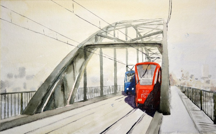 Old Bridge - unique watercolor painting by Nenad Kojic - Image 0