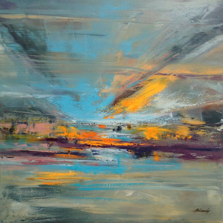 Fallen from the Sky - 60 x 60 cm, gray, purple, turquoise, orange abstract landscape oil painting - Image 0
