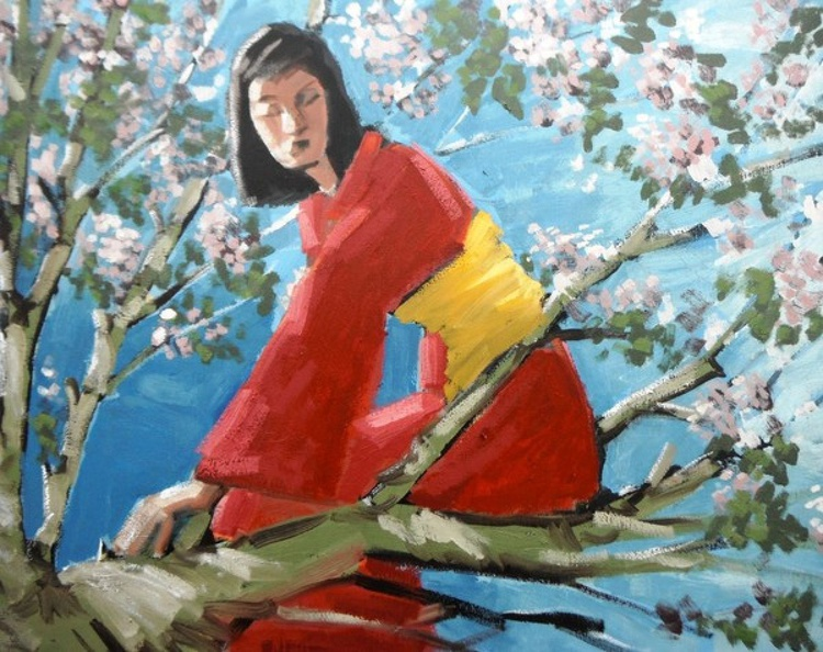 girl up a cherry tree - Image 0