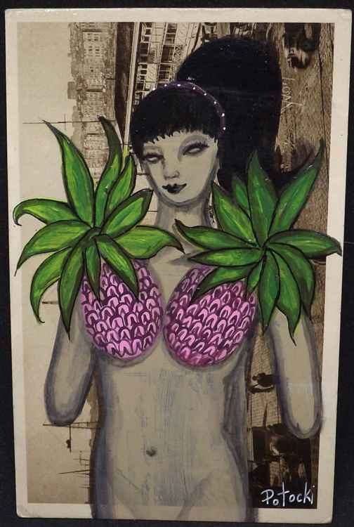 Pink Pineapples Acrylic Painting on Vintage Postcard
