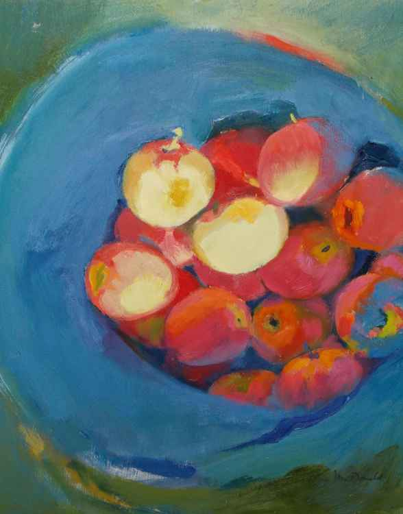 Apples in Blue Bucket