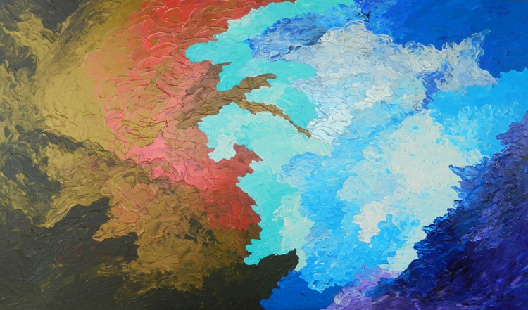 Rhapsody - Original, unique, large colorful modern abstract fine art painting with texture - Image 0