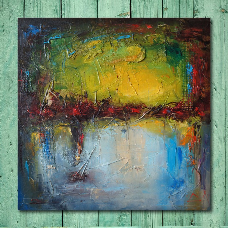Green touch, mixed media painting, free shipping - Image 0