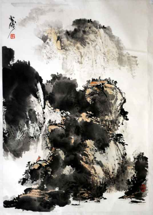 Chinese watercolour Landscape paining-43