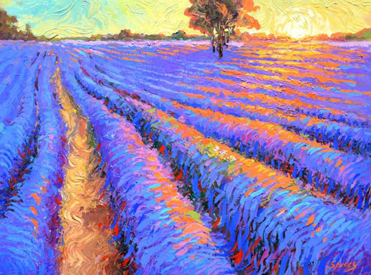 "Evening lavender field - Oil Painting On Canvas by Dmitry Spiros. Size: 36""x28"" (90x70 cm)"