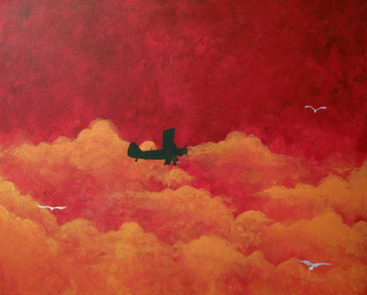 "art original abstract landscape ""First Flight"" plane aviation artwork painting art canvas - 16 x 20 inches - Image 0"
