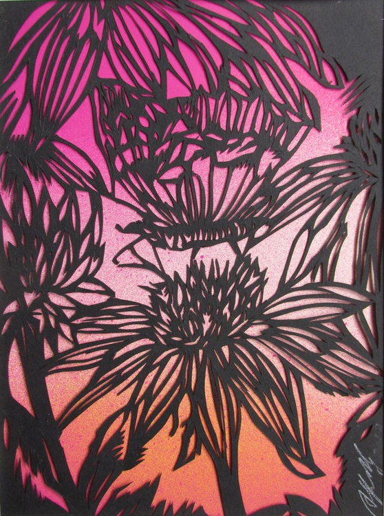 Butterfly with coneflowers paper cut - Image 0