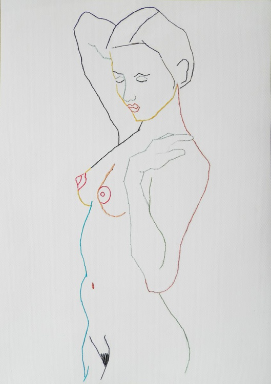 Embroidered female standing nude figure study life drawing - Image 0