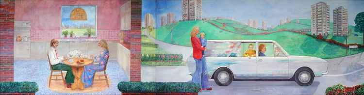 John and Mary a series of narrative paintings Part 4 Breakfast scene Family and estate car