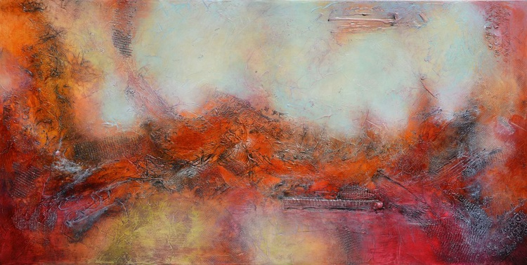 Large Abstract Painting,Red Cream Painting, Mixed Media Abstract Art,High End Unique Painting - Early Enough to Catch the Sunrise - Image 0