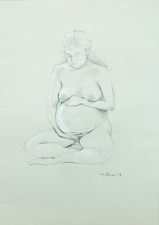 Cross legged Pregnant Female Nude, A2 pencil & charcoal life drawing - Image 0