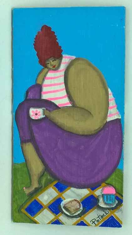 BBW The Picnic in the Park with Tea Original Painting on Wood