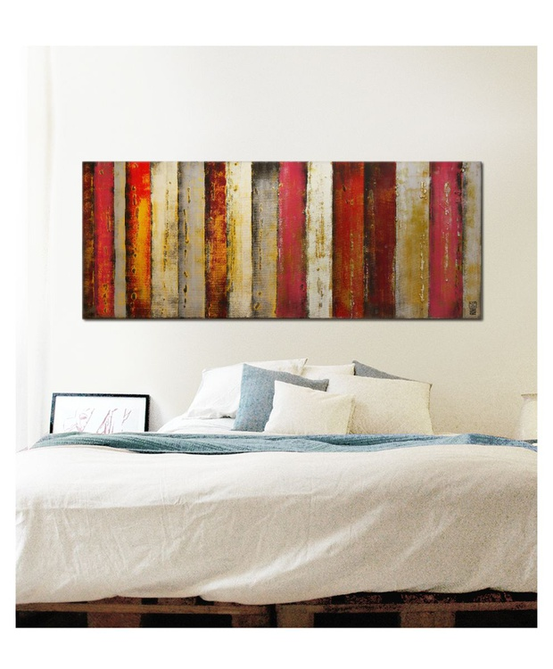 Abstract Painting - Landscape Panels in Red - B41 - Image 0