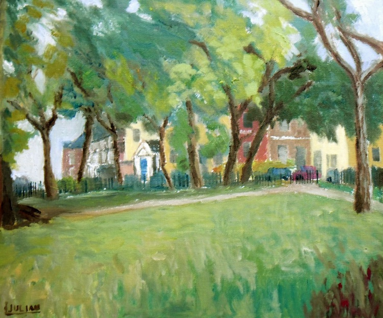 """Trees in Ellington Park, Ramsgate. An original oil painting. 12"""" x 10"""" on canvas Board. Lovely Gift. - Image 0"""