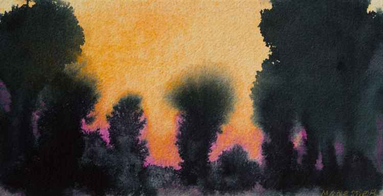 Light of sunset - small size watercolor on paper - 14,5X28 cm -