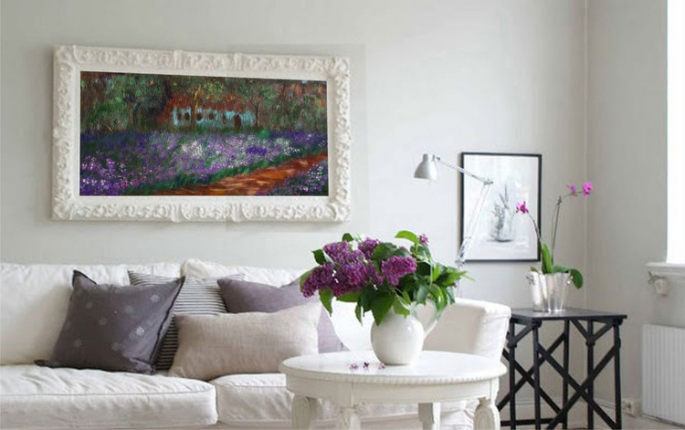 Giverny iris garden homage to Claude Monet style impressionist landscape painting flowers decor original floral art 50x100x2 cm stretched canvas acrylic painting wall art by artist Ksavera - Image 0