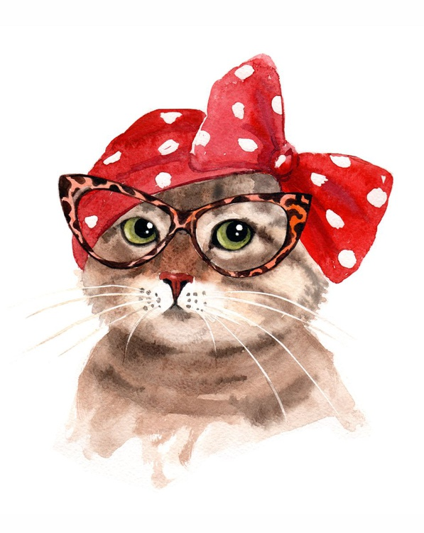 Lady Cat in Glasses - Retro Cat - Image 0
