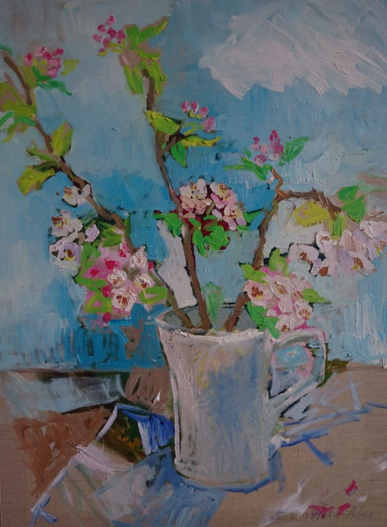 Apple blossom in the white jug - Image 0