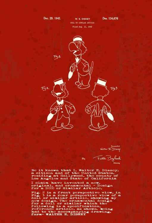 Disney character patent - Parrot - Burgundy - Circa 1942 -